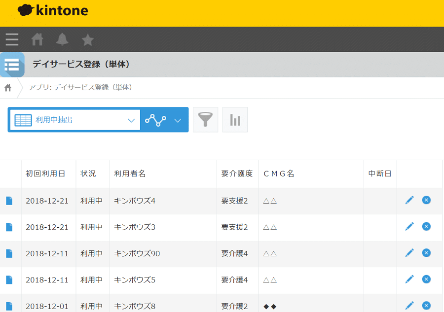 kintoneデイサービスアプリ利用中抽出