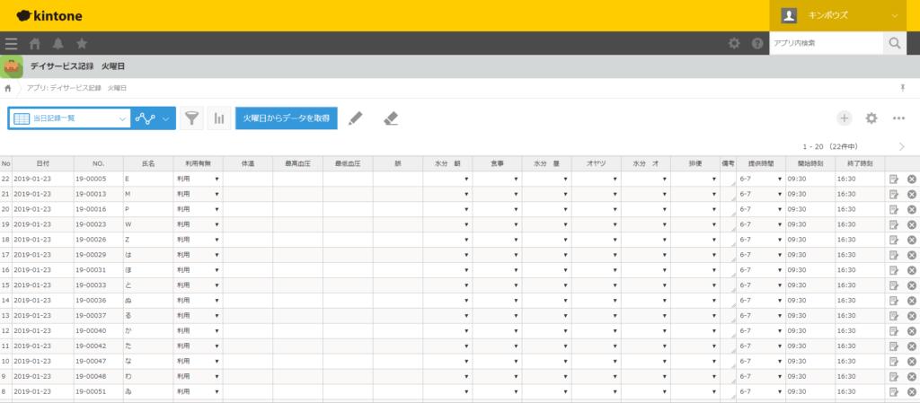 kintoneデイサービス記録一括アプリ