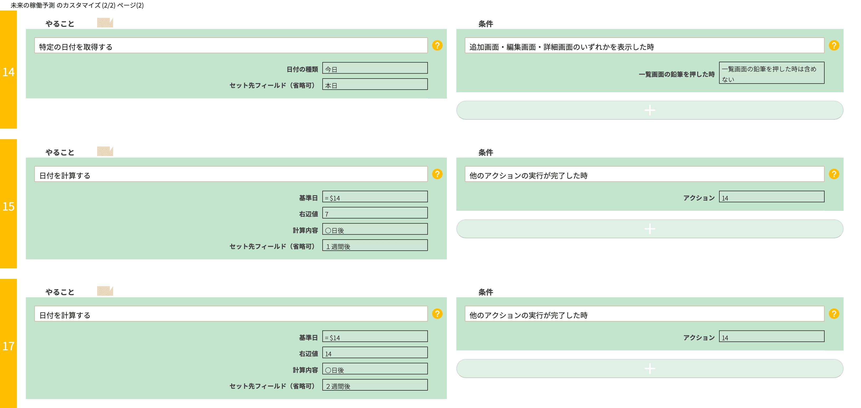 特定の日付を取得するカスタマイズ