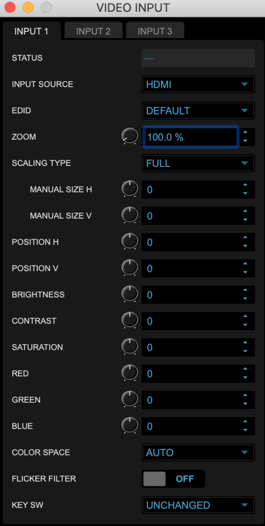 VR-1HD 映像入力設定画面